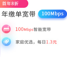 100Mbps单宽带包年